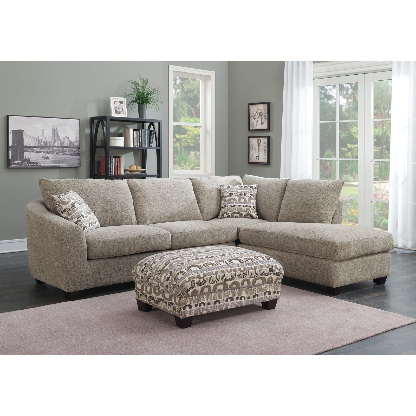 Emerald Home Urbana Piece Sectional Sofa With Chaise Couch Double Inside Kerri 2 Piece Sectionals With Laf Chaise (Image 5 of 25)