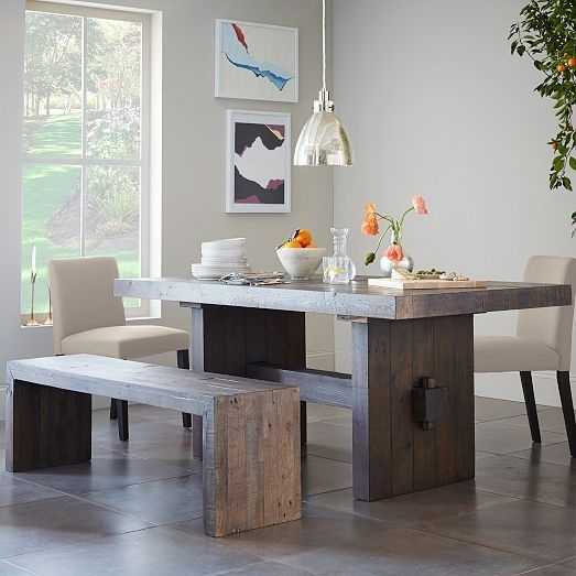 Emmerson® Reclaimed Wood Dining Bench – Stone Gray | For The Home With Natural Wood & Recycled Elm 87 Inch Dining Tables (Image 9 of 25)