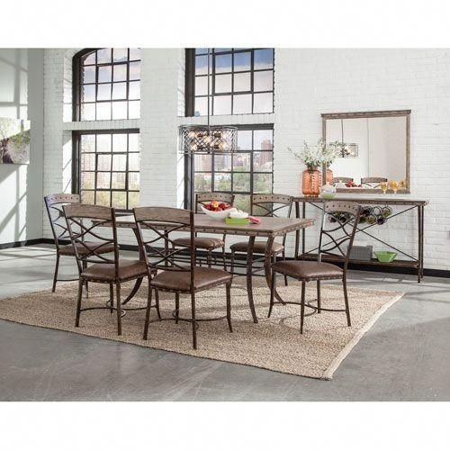 Emmons Washed Gray 7-Piece Rectangle Dining Set throughout Craftsman 7 Piece Rectangle Extension Dining Sets With Arm & Side Chairs