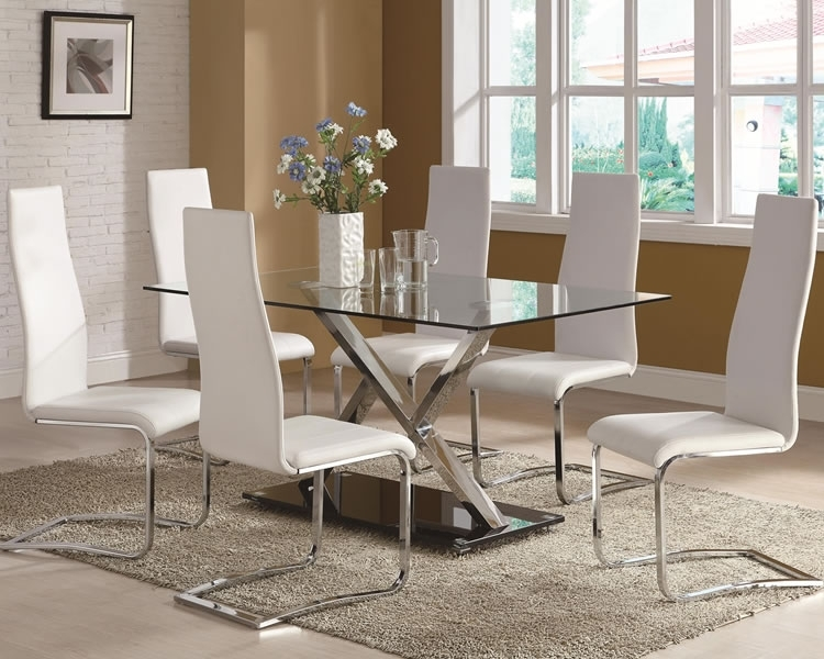 Enchanting Modern Glass Top Dining Tables Furniture | Fifthla For Chrome Dining Tables And Chairs (Image 10 of 25)