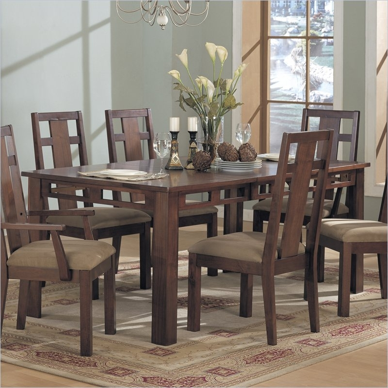 Enchantment Rectangular Casual Dining Table In Rich Cappuccino With Regard To Dining Tables With Large Legs (Image 7 of 25)