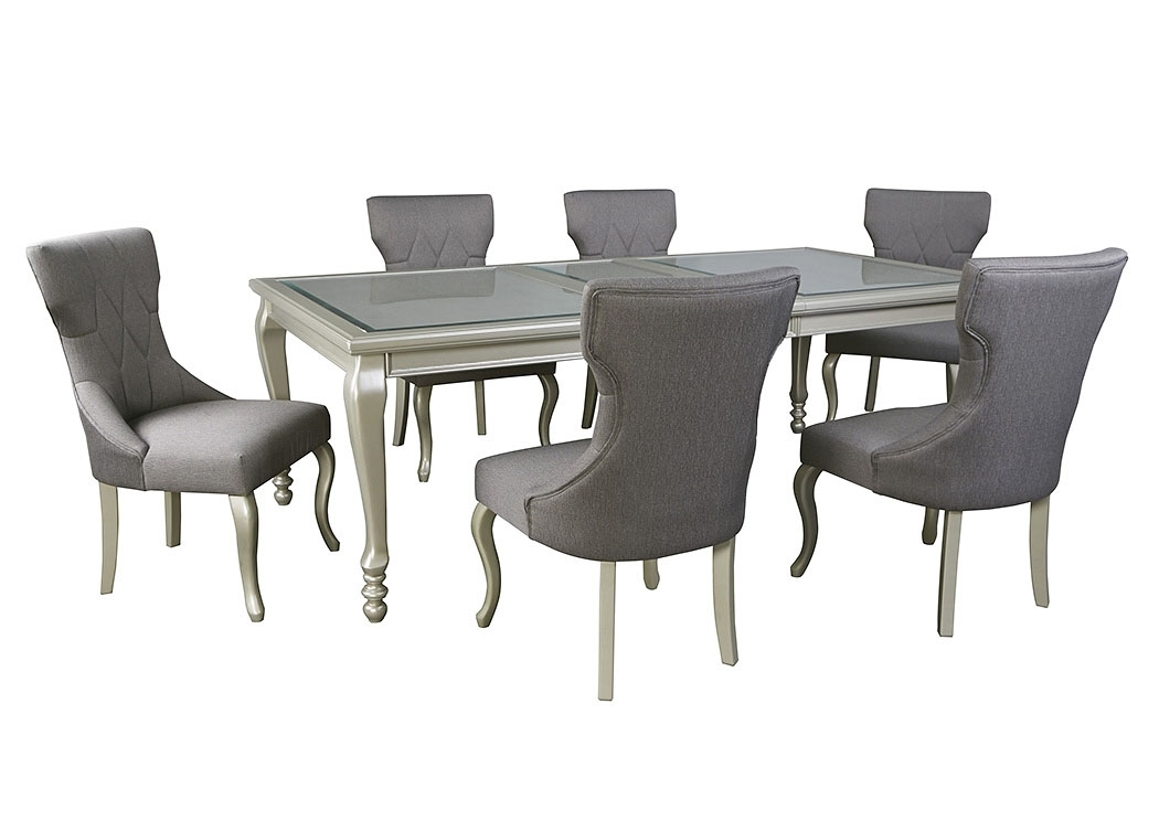 Enes Outlets Coralayne Silver Finish Rectangular Dining Room For Craftsman 5 Piece Round Dining Sets With Uph Side Chairs (Image 10 of 25)