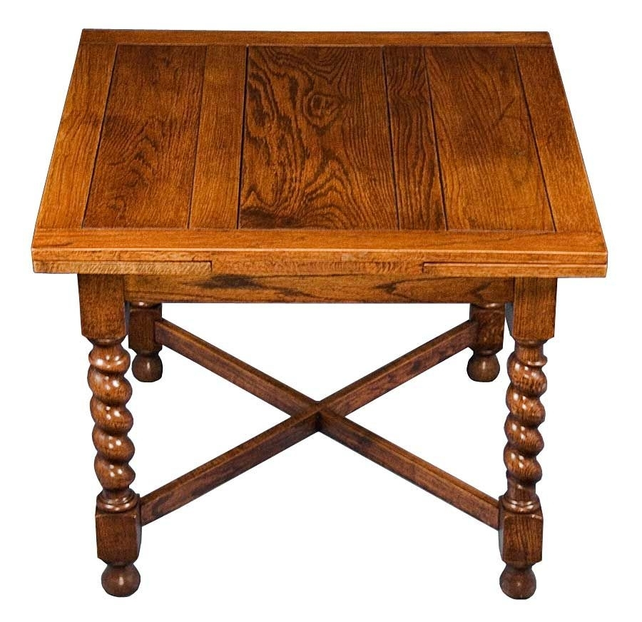 English Oak Antique Barley Twist Draw Leaf Pub Table Dining Game Intended For Washed Old Oak & Waxed Black Legs Bar Tables (Photo 19 of 25)