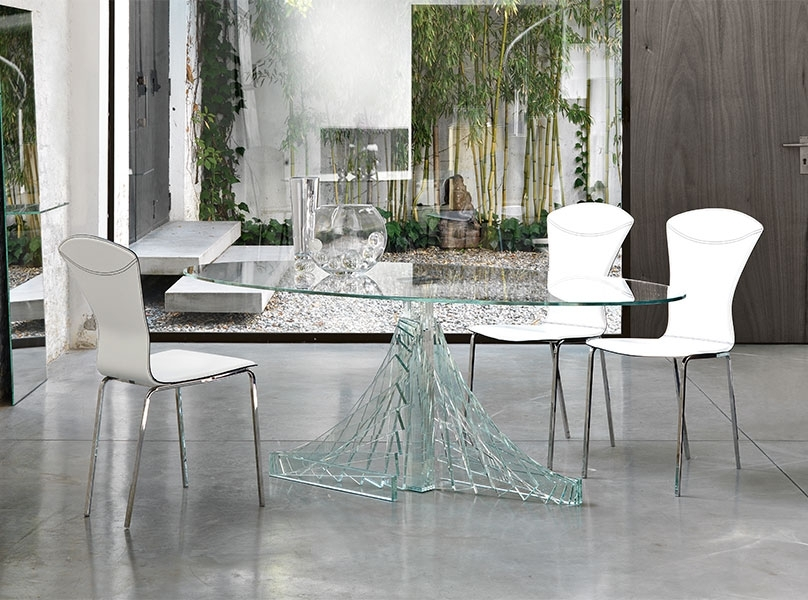 Enhance Your Kitchen With Some Best Glass Dining Room Sets Throughout Glass Dining Tables White Chairs (Image 9 of 25)