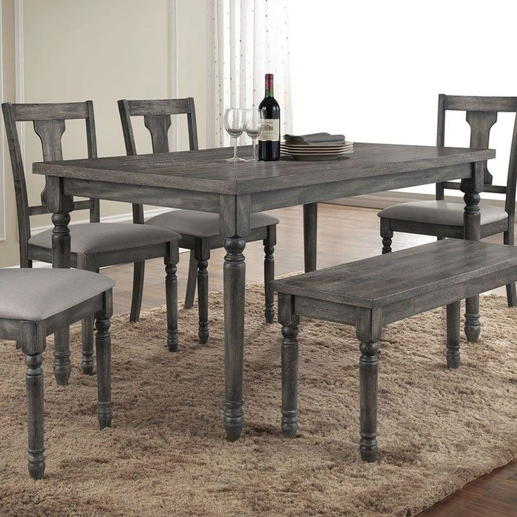 Enjoyable Design Grey Wood Dining Set Table Weathered Gray Round And within Jaxon 6 Piece Rectangle Dining Sets With Bench & Wood Chairs