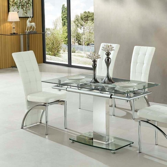 Enke Extending Dining Table In Clear Glass And Chrome Frame inside Glass Extending Dining Tables