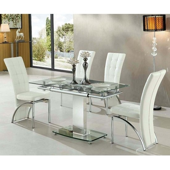 Enke Extending Glass Dining Table With 4 Ravenna White Inside Chrome Glass Dining Tables (Image 10 of 25)