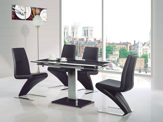 Enke Glass Extending Dining Table With 4 Z Chairs Black Inside Dining Tables Black Glass (Image 13 of 25)