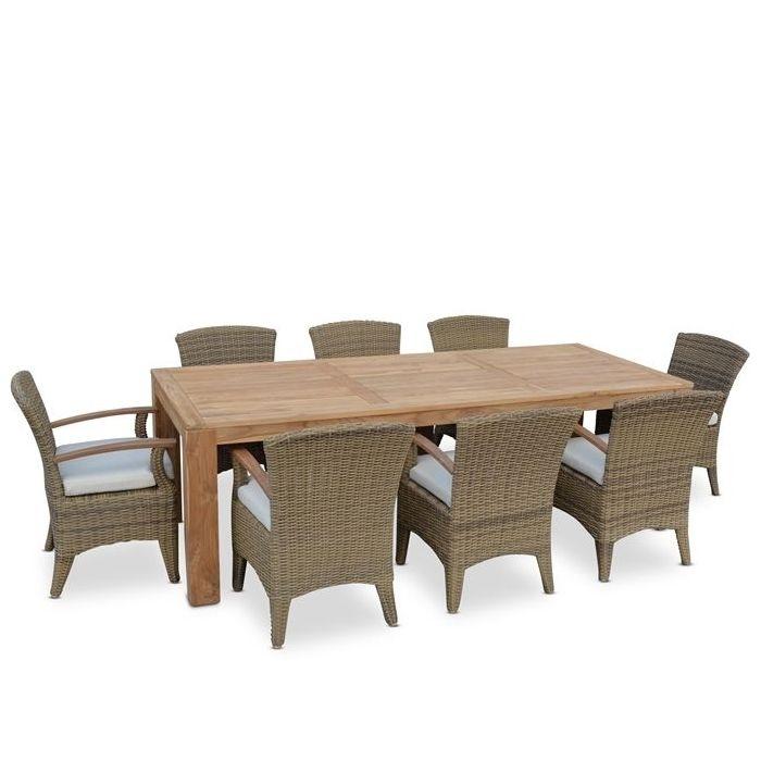 Entertainer Teak Outdoor Dining Table W 8 Kai Seats | Buy 8 Seat Intended For 8 Seat Outdoor Dining Tables (Image 16 of 25)