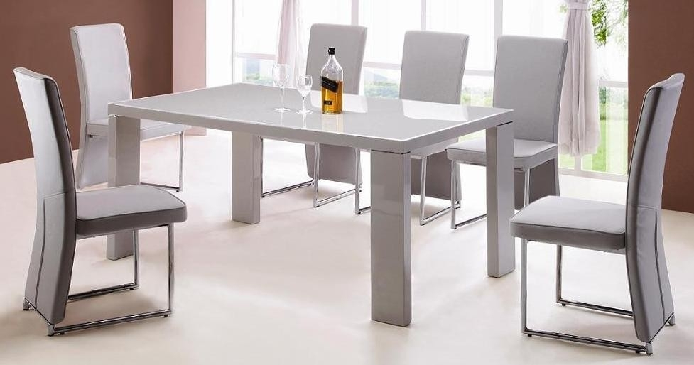 Enzo 6 Piece Dining Room Set – Allied Home Interiors Pertaining To Gloss Dining Tables (Image 10 of 25)