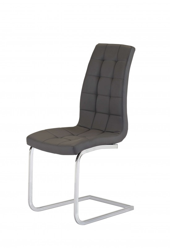 Enzo Grey Leather Dining Chair Ch 250Gr   Morale Home Furnishings Pertaining To Grey Leather Dining Chairs (Image 8 of 25)
