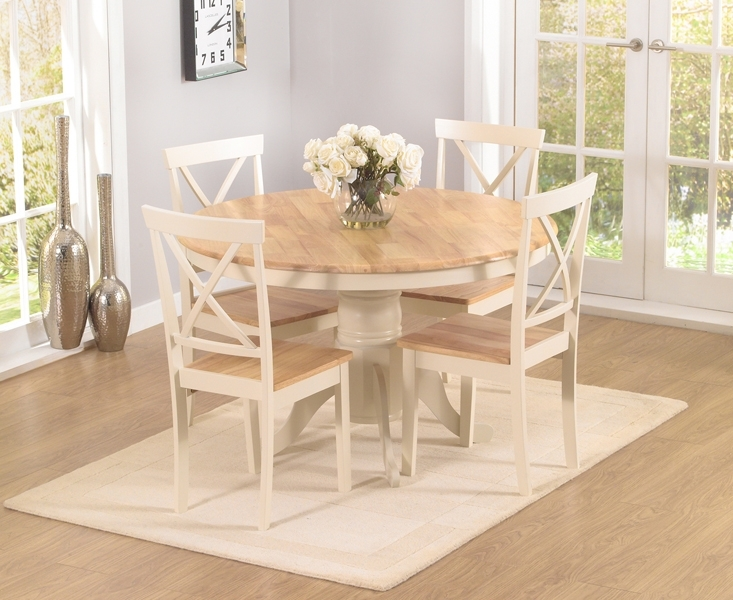 Epsom Cream 120Cm Round Pedestal Dining Table Set With Chairs within Cream and Wood Dining Tables