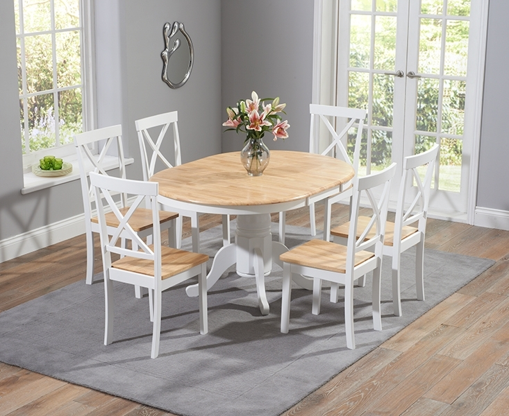 Epsom Oak And White Pedestal Extending Dining Table Set With Chairs inside Extendable Dining Tables With 6 Chairs