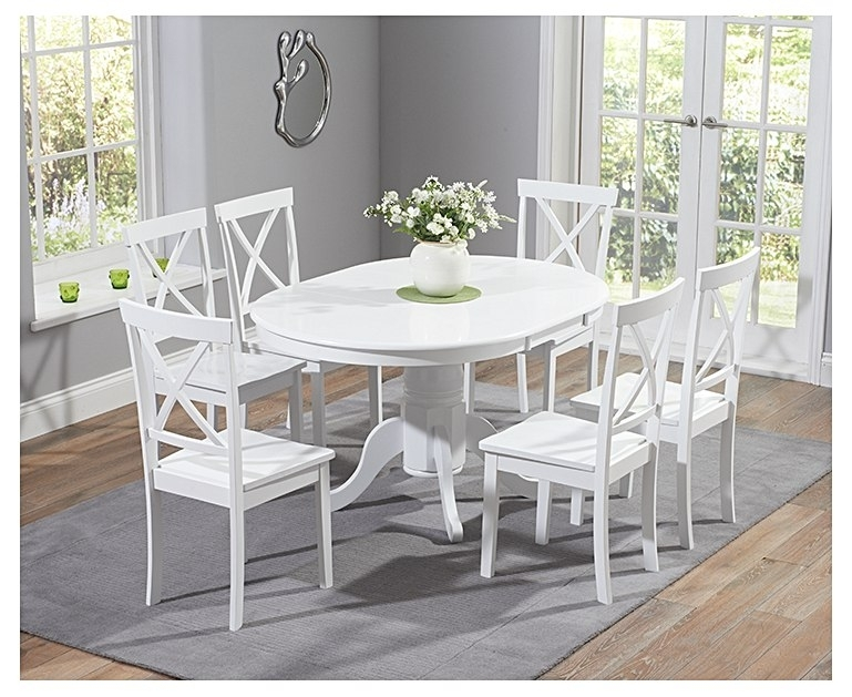 Epsom White Pedestal Extending Dining Table Set With Chairs With Regard To Extending Dining Table Sets (Image 6 of 25)