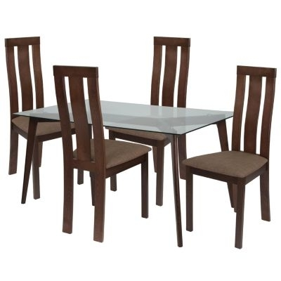 Escalon 5 Piece Espresso Wood Dining Table Set With Glass Top And In Craftsman 5 Piece Round Dining Sets With Uph Side Chairs (Photo 8 of 25)