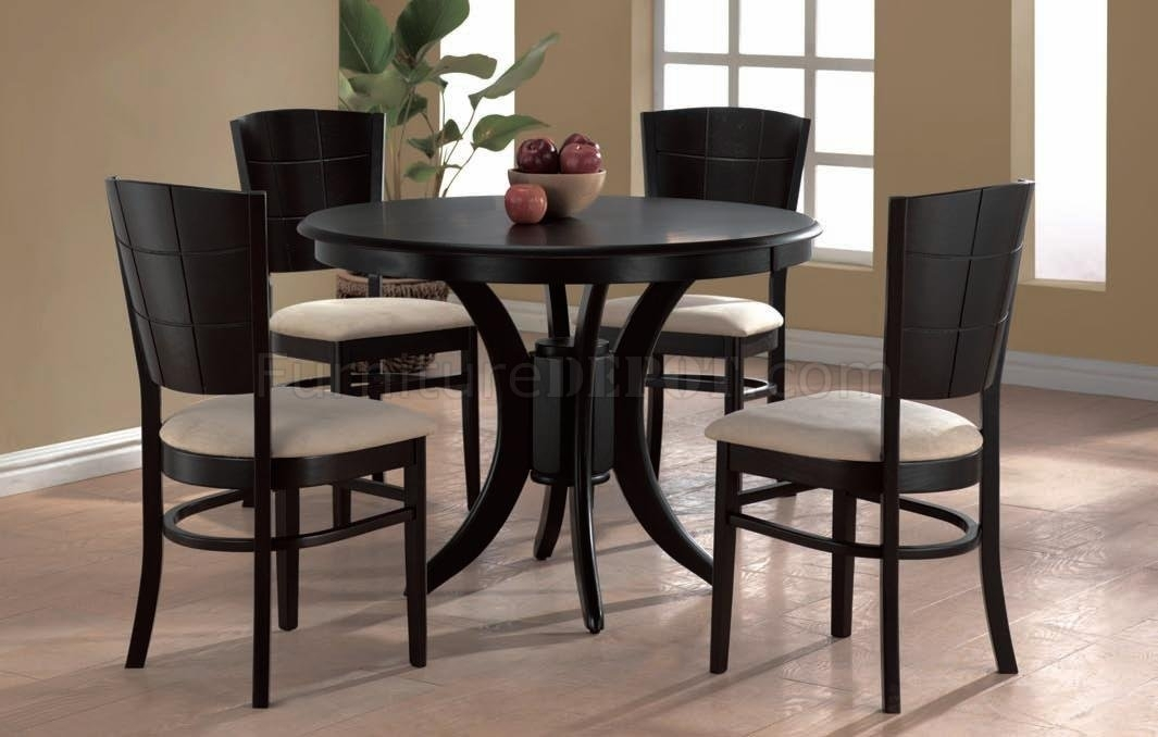 Espresso Finish Modern Round Dining Table W/optional Chairs With Regard To Cheap Round Dining Tables (View 7 of 25)