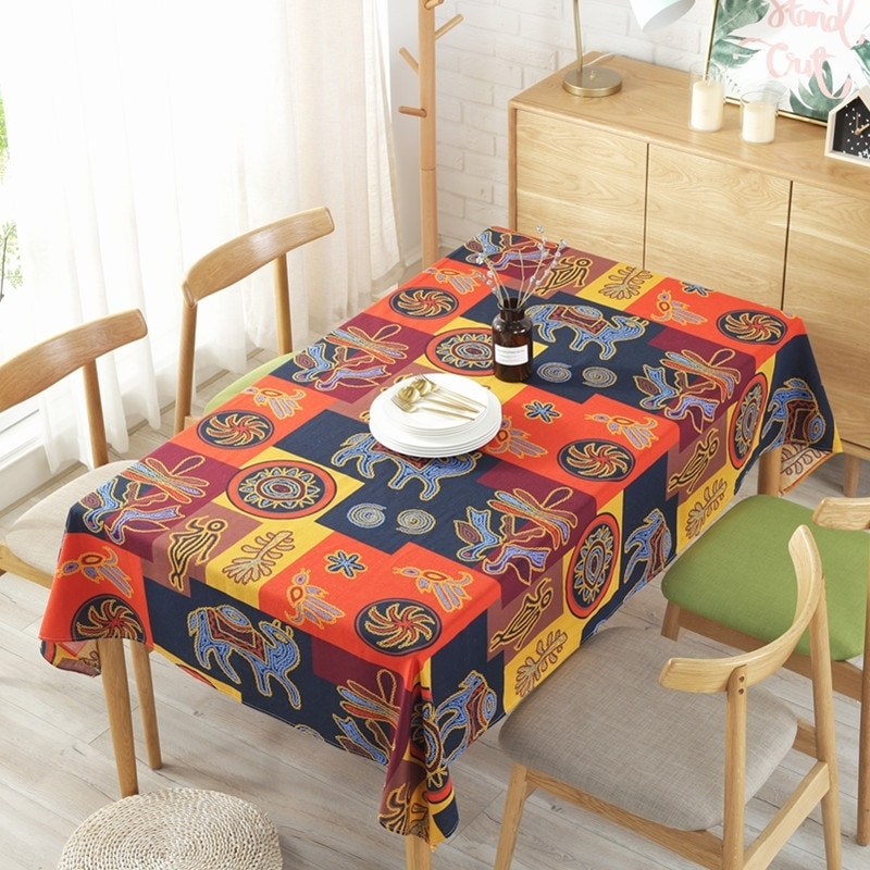 Esquire New Indian Style Cotton Linen Tablecloth Cafe Bar Decoration inside Indian Style Dining Tables