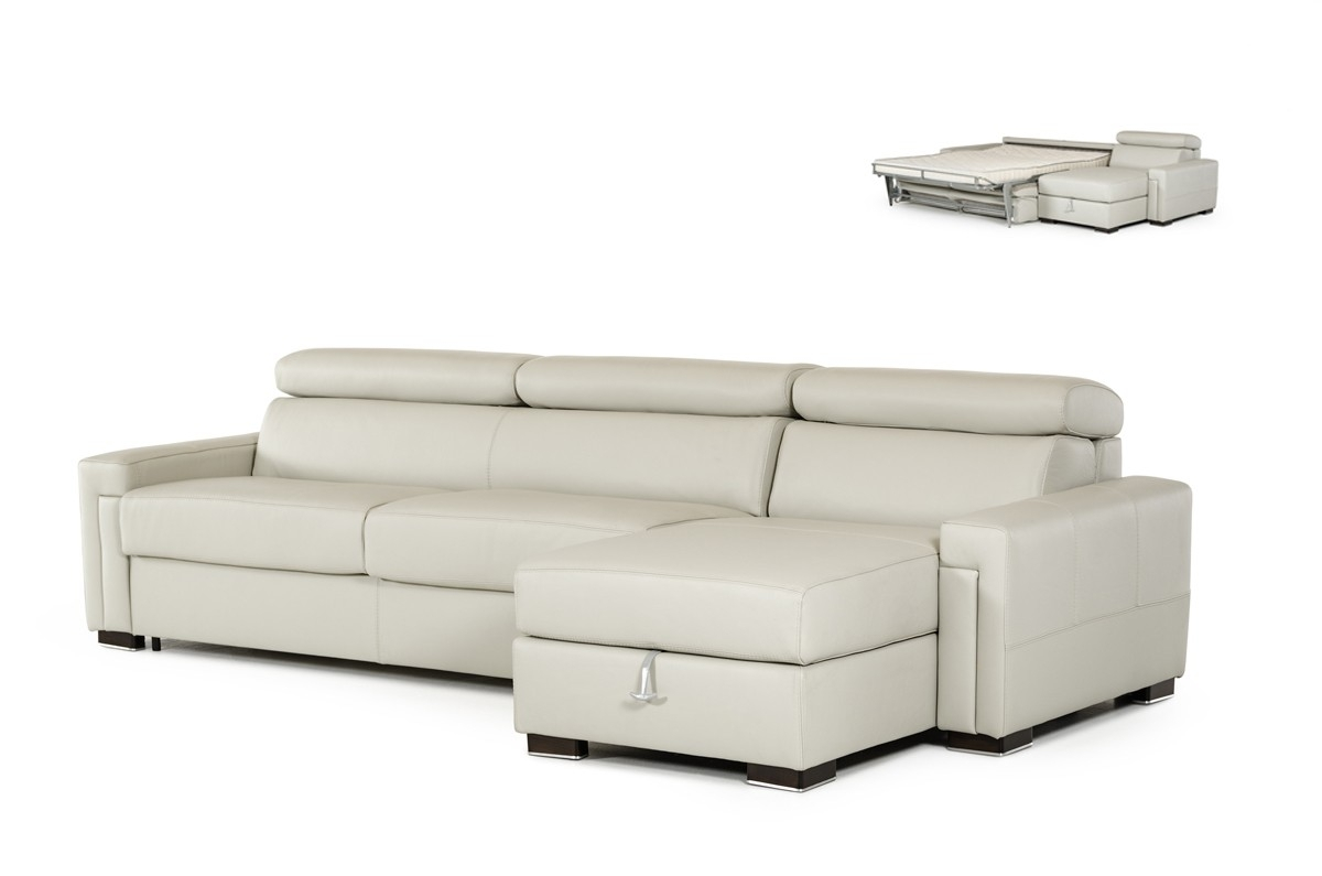 Estro Salotti Sacha Modern Grey Leather Reversible Sofa Bed Inside Norfolk Grey 3 Piece Sectionals With Laf Chaise (Image 6 of 25)