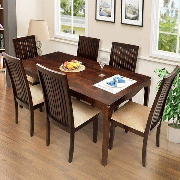Ethnic India Art Elmond 6 Seater Dining Set Including Table With Six For 6 Seat Dining Table Sets (View 2 of 25)