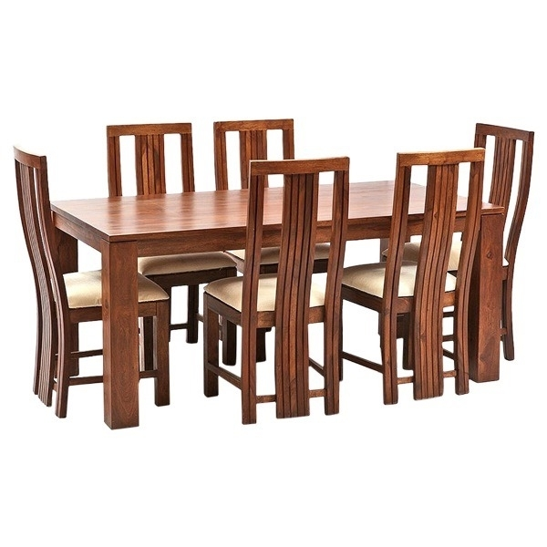 Ethnic India Art Madrid 6 Seater Sheesham Wood Dining Set With Table Intended For Sheesham Wood Dining Tables (View 8 of 25)
