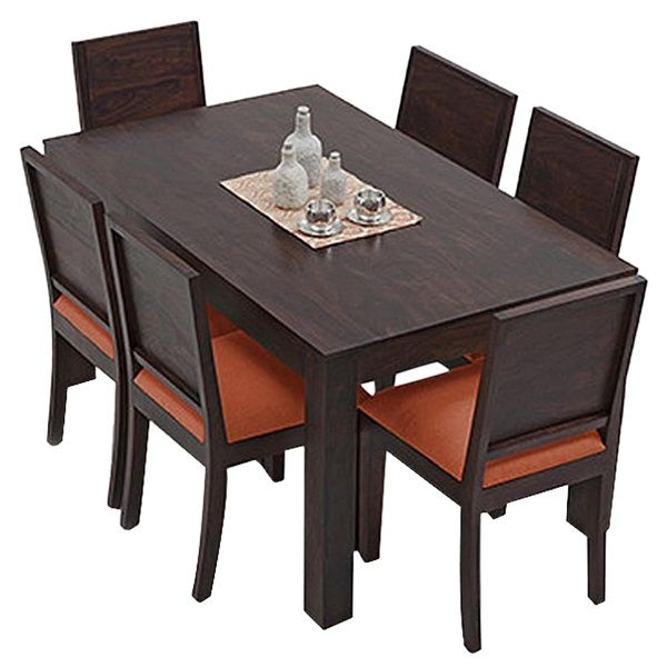 Ethnic India Art Vienna 6 Seater Sheesham Wood Dining Set With Table Throughout Vienna Dining Tables (View 21 of 25)