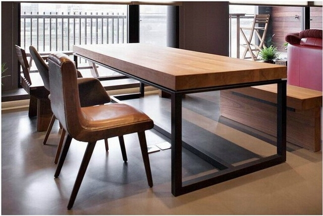 European Solid Wood Dining Table Rectangular Wood Dining Tables Inside Iron And Wood Dining Tables (Photo 2 of 25)