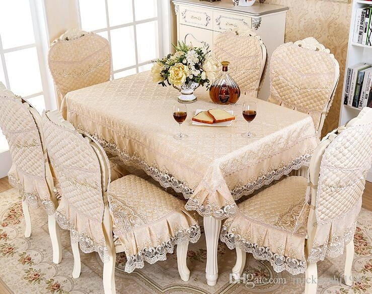 European Table Cloth Set Dining Chair Pad Overlay Set Dining Table throughout Helms 6 Piece Rectangle Dining Sets