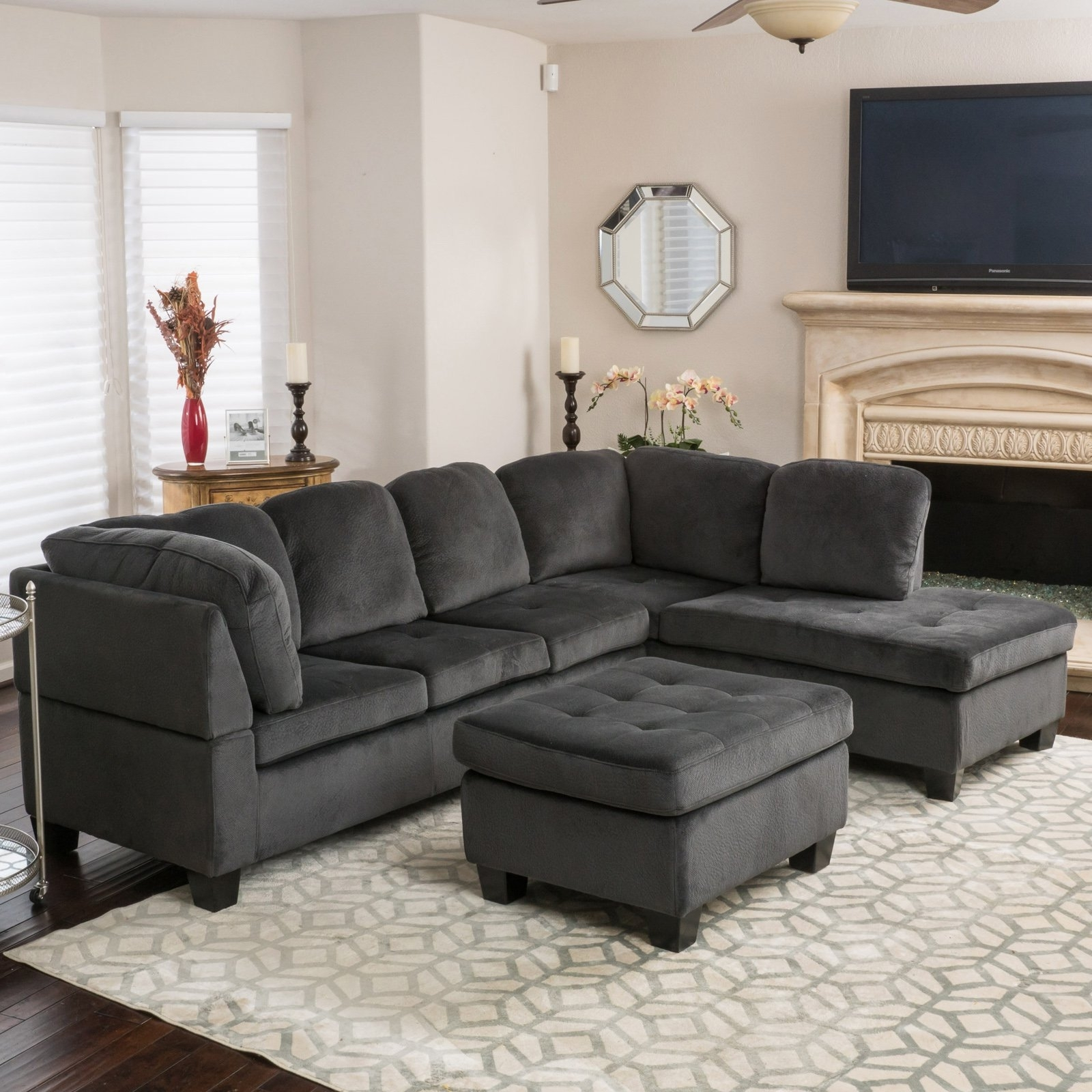 Evan 3 Piece Sectional Sofa | Hayneedle For Sierra Foam Ii 3 Piece Sectionals (Image 15 of 25)