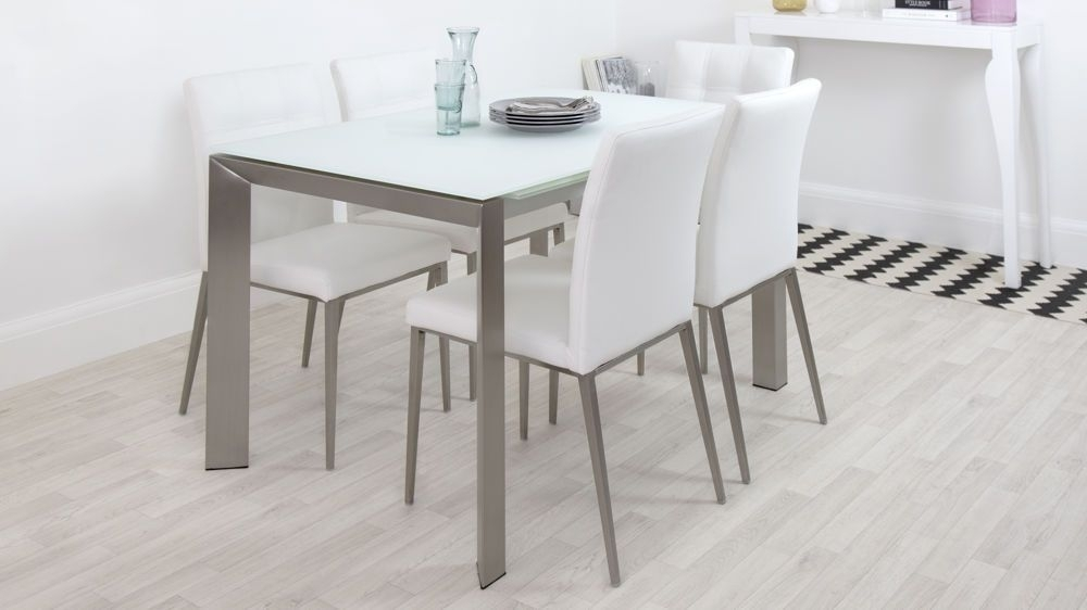 Eve White Frosted Glass With Brushed Stainless Steel And Moda Inside Smoked Glass Dining Tables And Chairs (Photo 2 of 25)