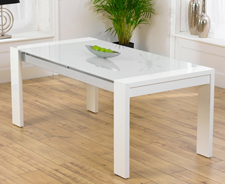 Ex-Display Cannes 180Cm High Gloss White Dining Table inside Glass And White Gloss Dining Tables