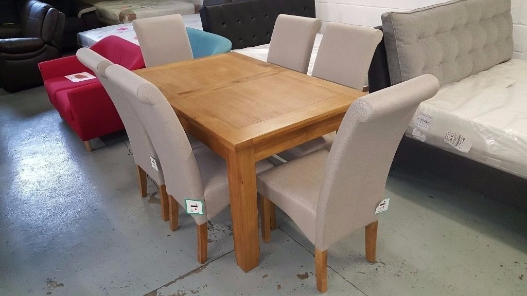Ex Display Julian Bowen Astoria Extending Oak Dining Table & 6 Rio Intended For Rio Dining Tables (Image 7 of 25)