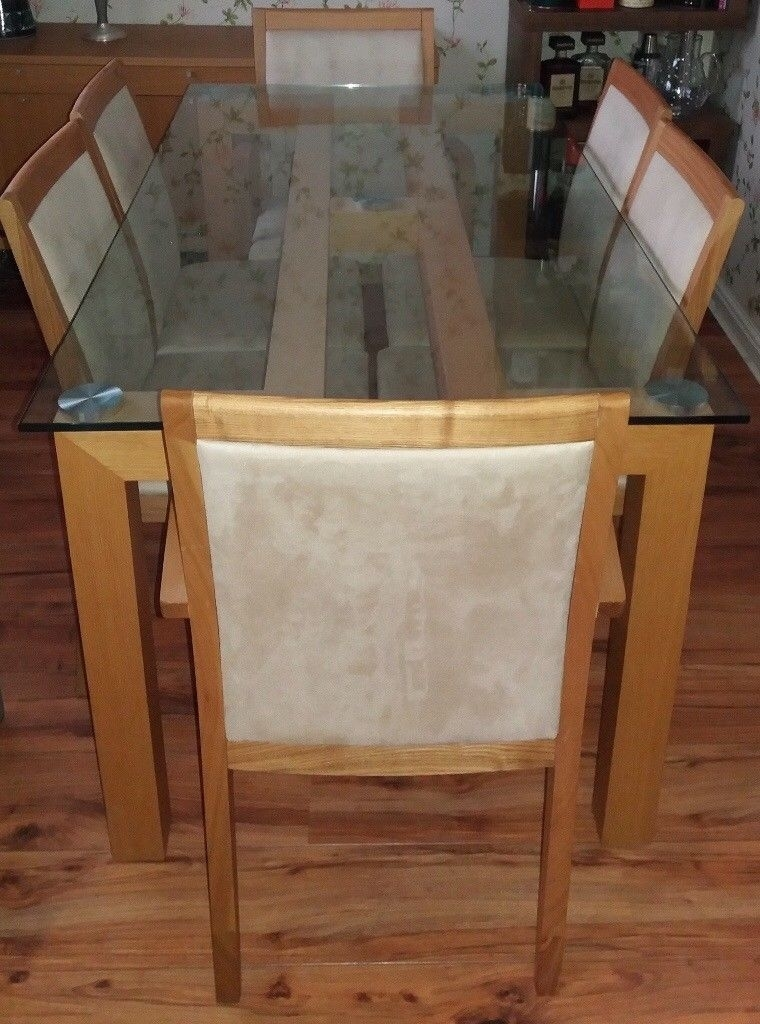 Excellent Condition, Barely Used Glass Top Oak Dining Table With 6 Throughout Glass Top Oak Dining Tables (Image 14 of 25)