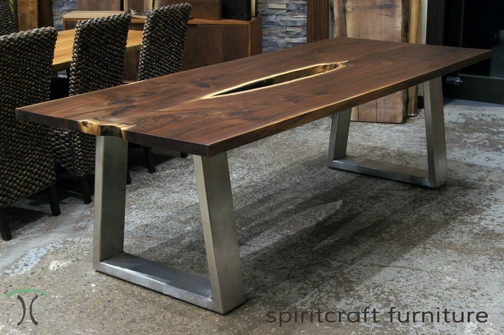 Excellent Greenly Live Edge Reclaimed Wood Table With Metal Legs Throughout Dining Tables With Metal Legs Wood Top (Image 8 of 25)