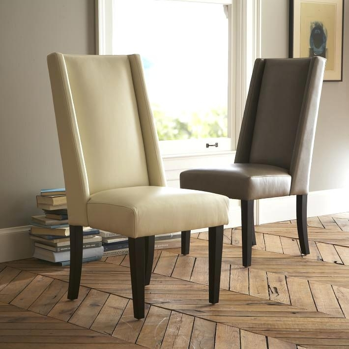 Excellent Ivory Dining Chairs Excellent Leather Dining Chair West Regarding Ivory Leather Dining Chairs (Image 10 of 25)