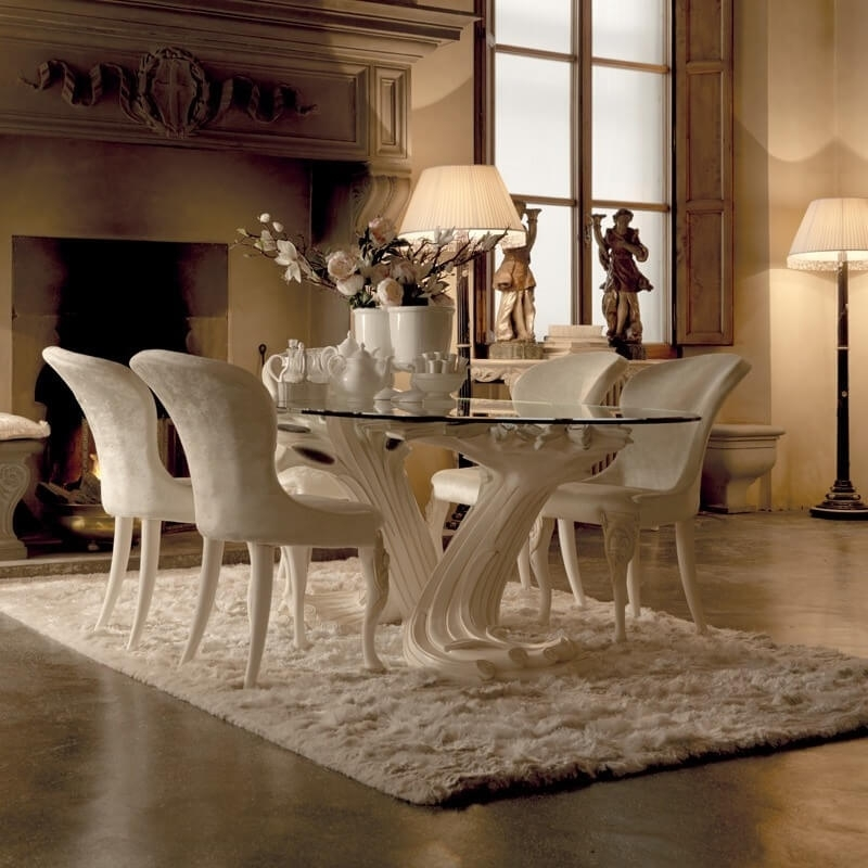 Exclusive Italian Pedestal Large Glass Dining Table Set, Pedestal for Pedestal Dining Tables And Chairs