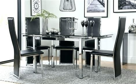 Expandable Glass Dining Table Set And Chairs Home Decor Tables Sale Pertaining To Black Glass Dining Tables With 6 Chairs (Image 15 of 25)