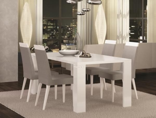 Exquisite Diamond Fixed Or Extending White High Gloss Dining Table Throughout High Gloss Dining Room Furniture (Image 8 of 25)