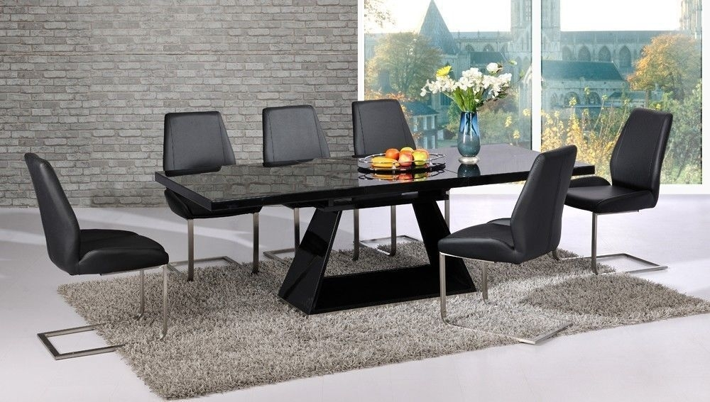 Extendable Black Glass High Gloss Base Dining Table And 8 Chairs Intended For Extending Dining Tables And 8 Chairs (Image 8 of 25)