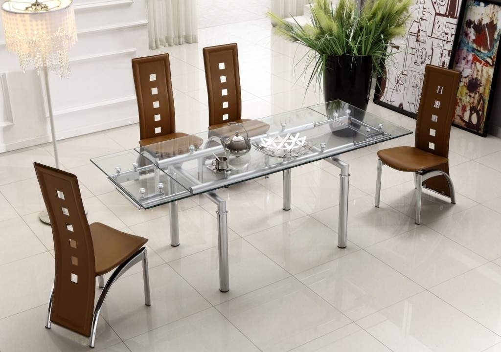Extendable Clear Glass Top Leather Modern Dining Table Sets Inside Modern Dining Sets (Image 10 of 25)