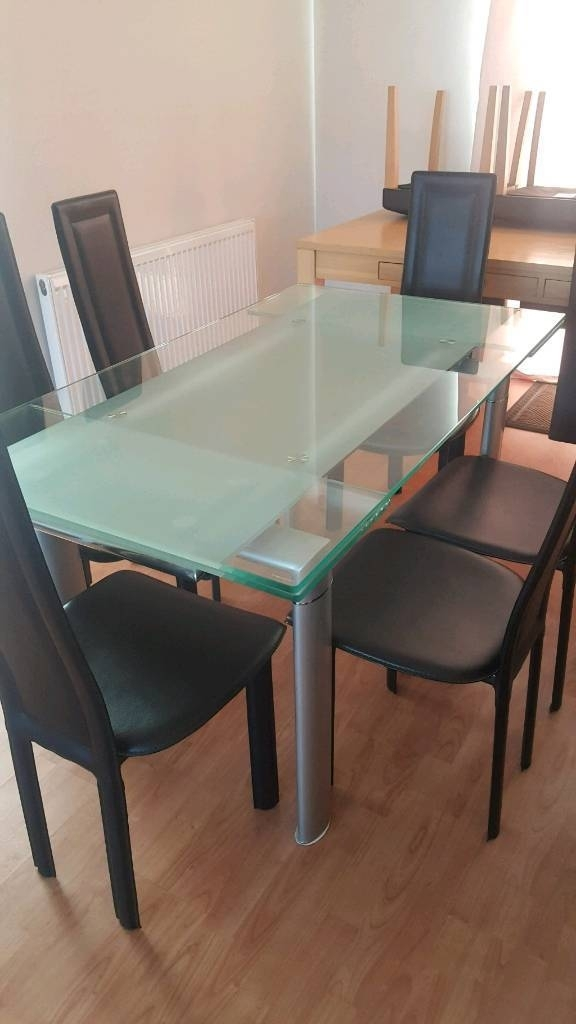 Extendable Glass Dining Table And 6 Chairs | In Sunderland, Tyne And inside Extendable Glass Dining Tables And 6 Chairs