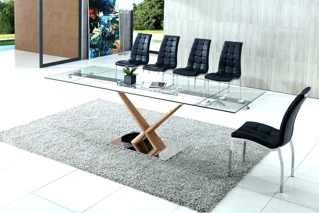 Extendable Glass Dining Table Sets Set Modern Small With Regard To Extendable Glass Dining Tables (Image 10 of 25)