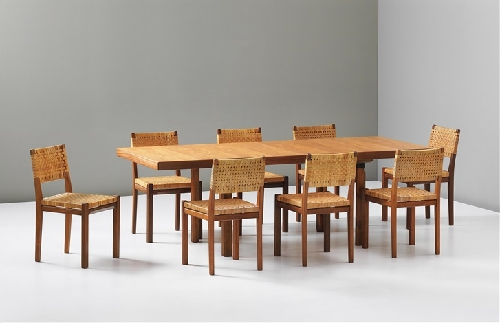 Extendable H Leg Dining Table And Eight Dining Chairs, Model No. 615 with regard to Dining Tables for Eight