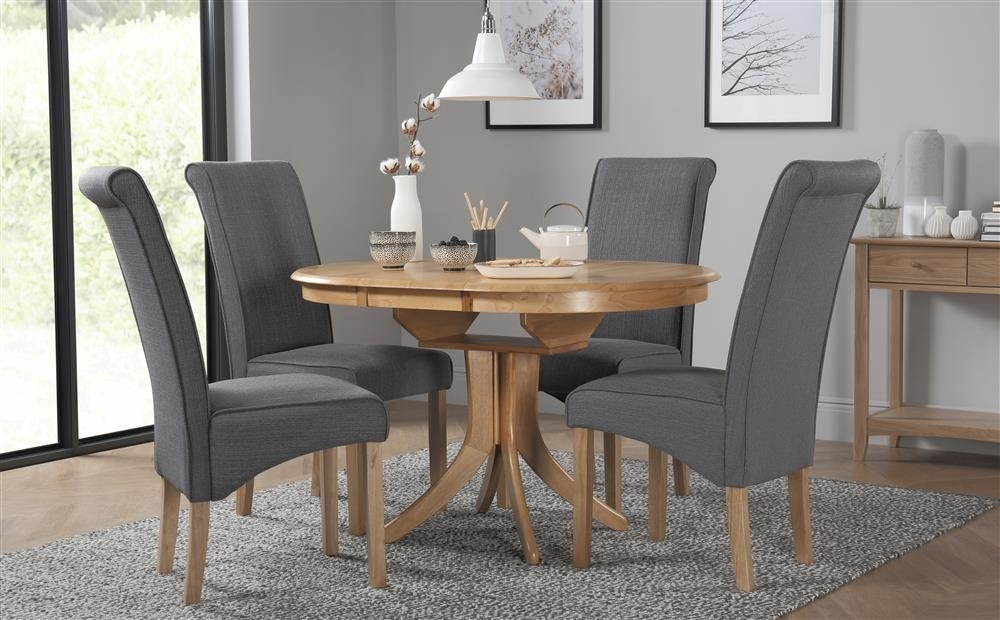 Extendable Round Dining Table Set – Castrophotos Pertaining To Jaxon Grey Round Extension Dining Tables (Image 5 of 25)