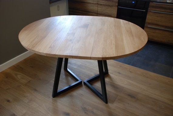 Extendable Round Table Modern Design Steel And Timber In 2018 Intended For Round Extendable Dining Tables (Image 8 of 25)