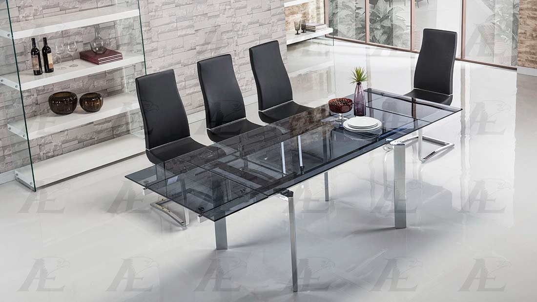 Extendable Smoked Glass Dining Table Ae134S | Modern Dining Within Smoked Glass Dining Tables And Chairs (View 6 of 25)