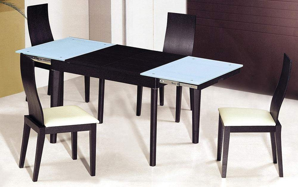 Extendable Wooden With Glass Top Modern Dining Table Sets Columbus inside Extendable Dining Table Sets