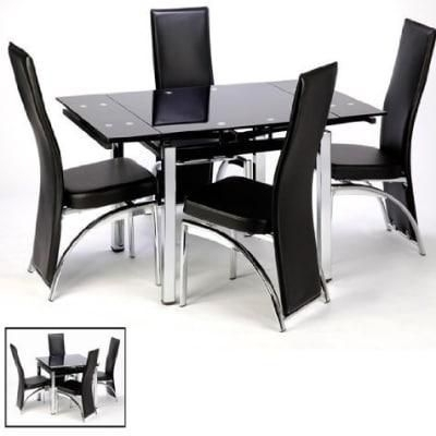 Extending Black Glass Dining Table + 4 Black Romeo Chairs Price From With Black Glass Dining Tables And 4 Chairs (Image 13 of 25)