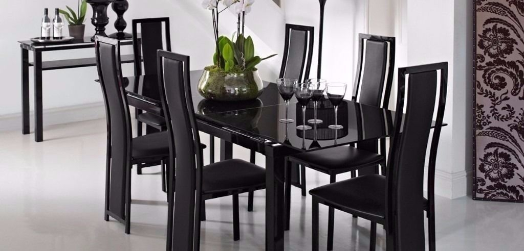 Extending Black Glass Dining Table And 6 Chairs ( Noir Range From in Glass Extendable Dining Tables and 6 Chairs