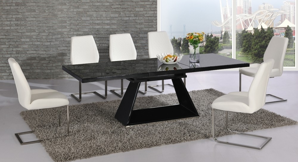 Extending Black Glass High Gloss Dining Table And 8 White Chairs For Black Gloss Dining Tables And Chairs (Image 7 of 25)