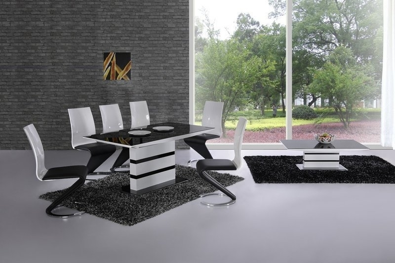Extending Black Glass White High Gloss Dining Table And 8 Chairs With Black High Gloss Dining Chairs (Image 12 of 25)